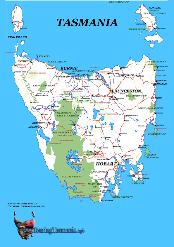 Maps Of Tasmania TASMANIA   MAP